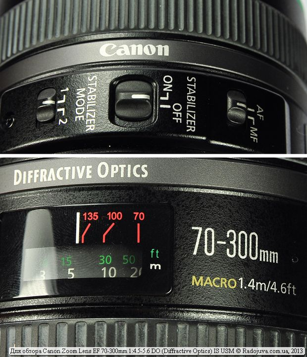 Переключатели на  Canon 70-300mm DO IS USM