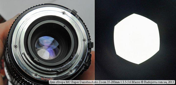 Bayonet, rear lens enlightenment and lens aperture view = MC Super Danubia Auto Zoom 35-200mm