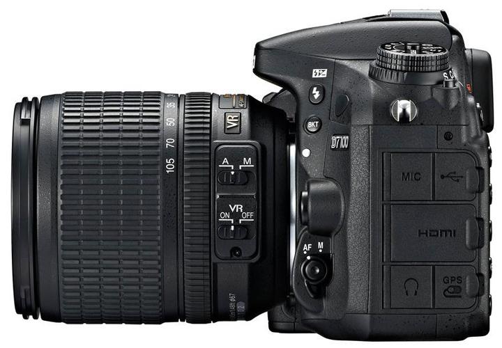 Nikon D7100 вид сбоку. Разные разъемы.