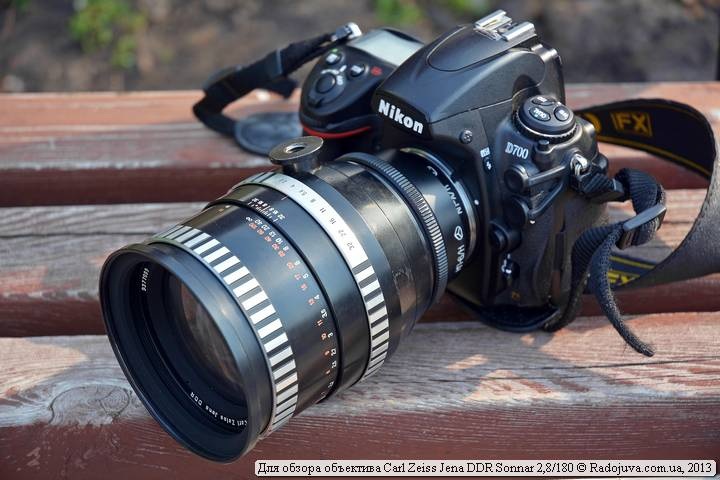 Вид объектива Sonnar 180 2.8 на камере Nikon D700