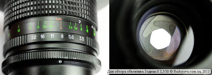 Индикаторы на Зодиак-8 3,5 30 и вид лепестков диафрагмы сзади объектива