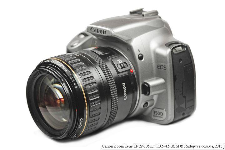 Вид Canon EF 28-105mm f/3.5-4.5 USM на камере