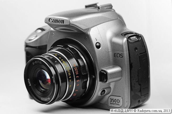 Вид Индустар-61 ЛД на современной камере