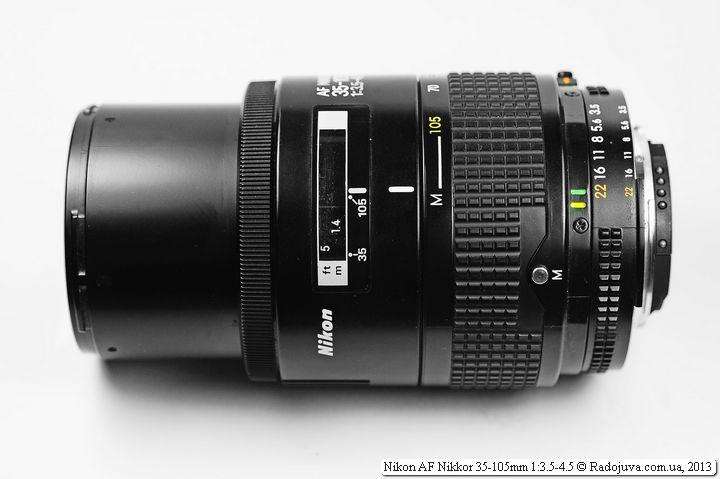 Вид Nikon 35-105 при максимальном фокусном расстоянии и минимальной дистанции фокусировки