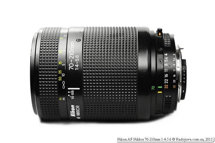 Вид Nikon AF Nikkor 70-210mm 1:4-5.6 сбоку