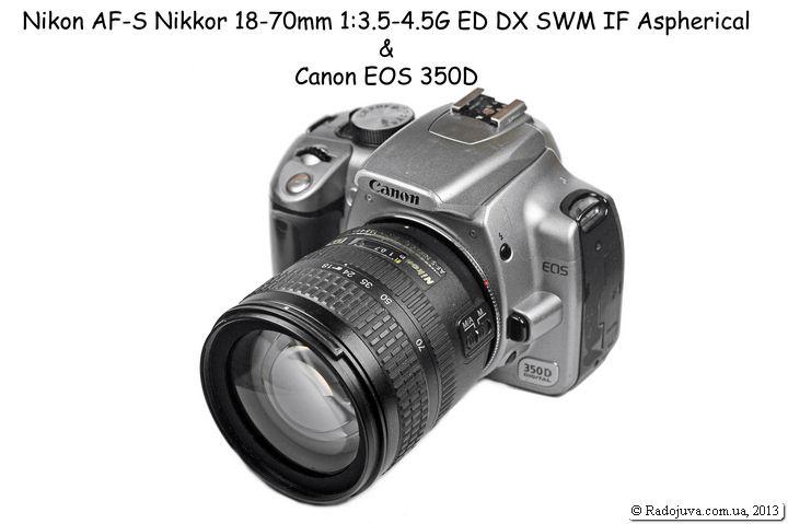Камера Canon с объективом Nikon G-типа