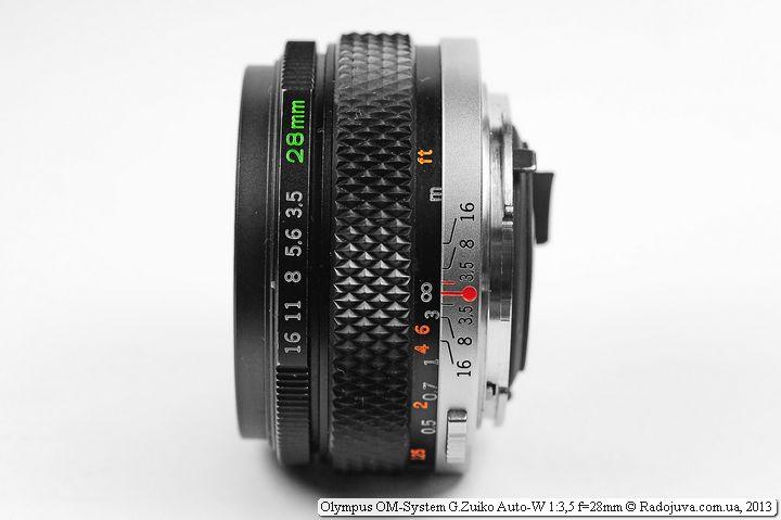 Zuiko F/3.5 28mm вид сбоку