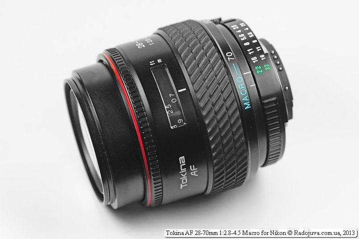 Вид объектива okina AF 28-70mm F2.8-4.5 с максимальным удлинением хобота