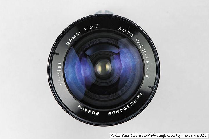Передняя линза объектива Vivitar 28mm F/2.5 с диаметром 62мм