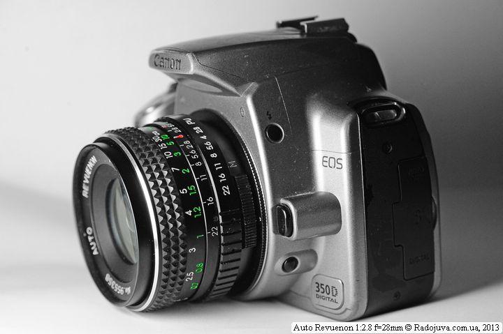 Вид объектива Revuenon 28mm f2.8 Auto на ЦЗК