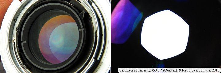 Просветление задней линзы и вид лепестков диафрагмы Carl Zeiss Planar F 1,7 50 mm T* (Contax)