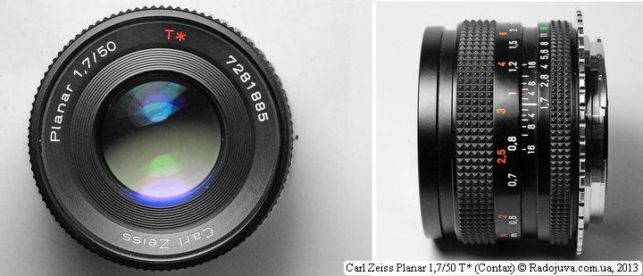 Вид объектива Carl Zeiss Planar F 1,7 50 mm T* (Contax)