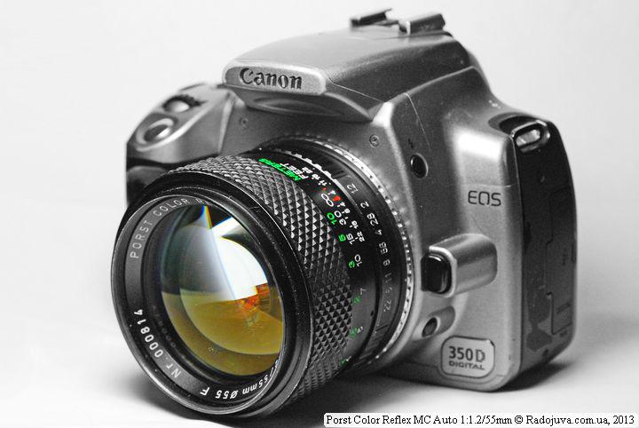 Вид объектива Porst Color Reflex MC Auto 1: 1.2 55 mm на ЦЗК
