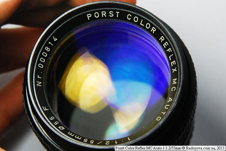 Просветление передней лизны объектива Porst Color Reflex MC Auto 1:1.2/55mm