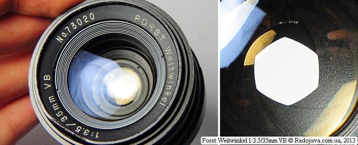 Просветление передней линзы объектива Porst Weitwinkel 35/3.5 и вид отверстия диафрагмы