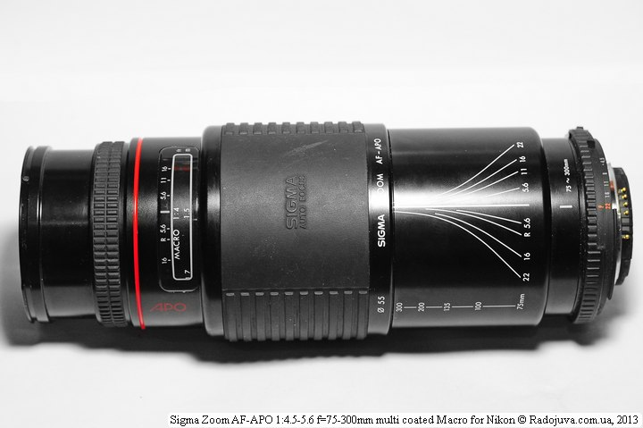 Sigma Zoom AF-APO 1: 4.5-5.6 f = 75-300mm multi-coated Macro with MDF and 300mm