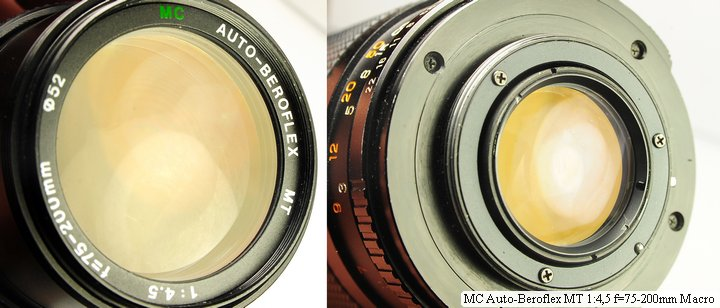 Просветление передней и задней линзы MC Auto-Beroflex MT 4,5 75-200 mm Macro