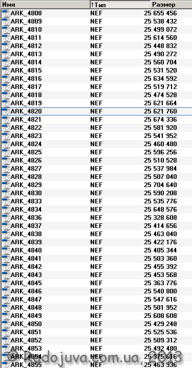 Размеры NEF файлов на моей камере Nikon D700