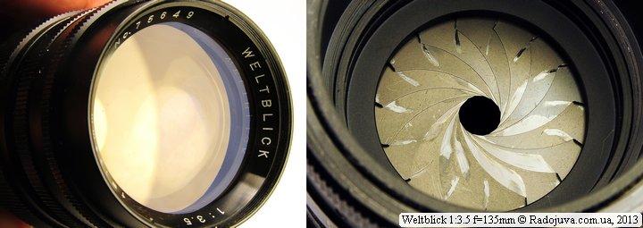 Просветление передней линзы Weltblick 1:3.5 f=135mm и вид лепестков диафрагмы