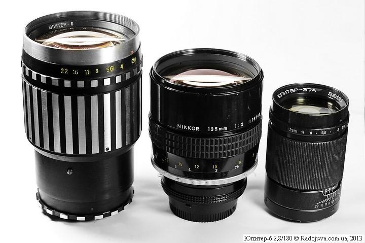 Размеры легендарных портретников, Юпитер-6, Nikon 135mm 1:2 NIKKOR и Юпитер-37А