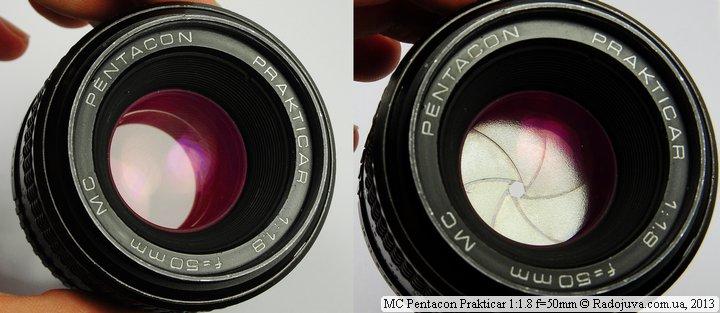 Просветление передней линзы объектива MC Pentacon Prakticar F 1.8 50 mm при фокусировке на МДФ и вид лепестков диафрагмы