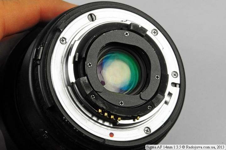 Вид сзади Sigma AF 14mm 1:3.5