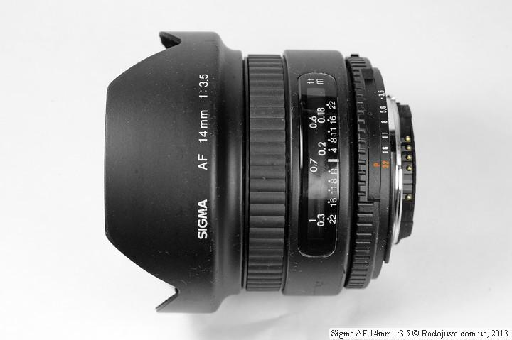 Вид сбоку Sigma AF 14mm 1:3.5