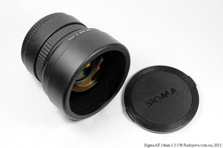 Sigma AF 14mm 1:3.5 с одетой первой частью крышки
