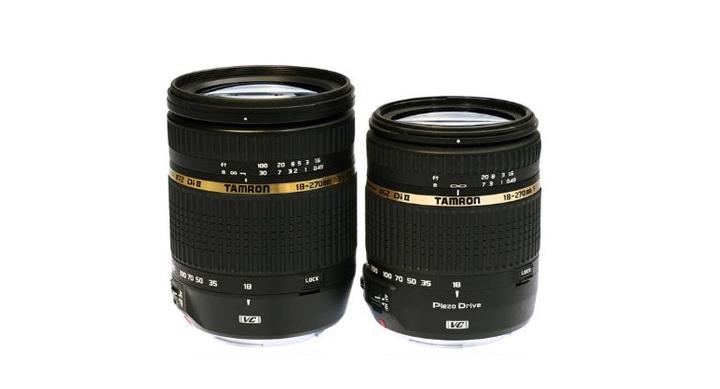 Разница в размерах двух версий Tamron 18-270. Новая версия заметно меньше.