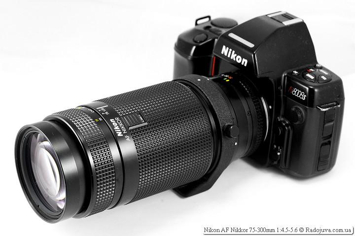 Вид объектива Nikon AF Nikkor 75-300mm 1:4.5-5.6 на ЗК