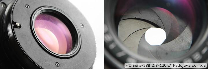 Просветление задней линзы и вид лепестков диафрагмы