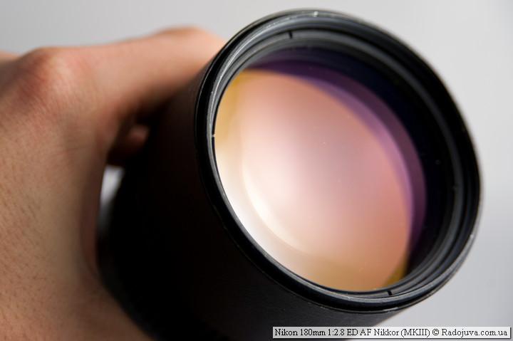 Просветление передней линзы объектива Nikon 180mm 1:2.8 ED AF Nikkor MKIII