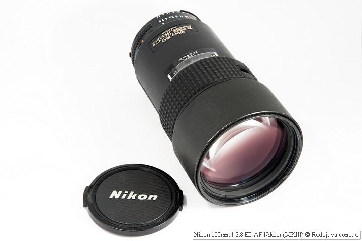 Nikon 180mm 1:2.8 ED AF Nikkor MKIII с родной передней крышкой старого образца