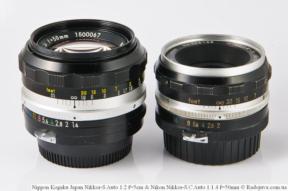 Nikon Nikkor-S.C Auto 1:1.4 f=50mm и Nippon Kogaku Japan Nikkor-S Auto 1:2 f=5cm