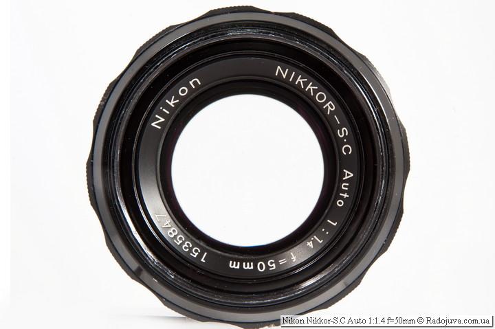 Вид объектива Nikon Nikkor-S.C Auto 1:1.4 f=50mm
