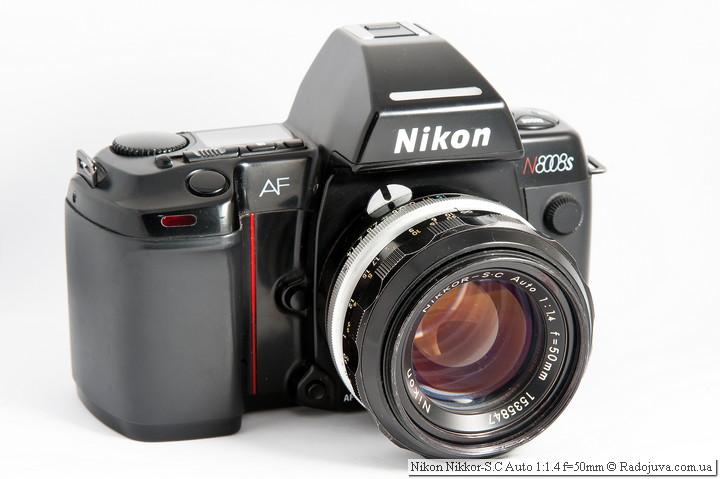 Вид Nikon Nikkor-S.C Auto 1:1.4 f=50mm на пленочной зеркальной камере Nikon AF N8008s