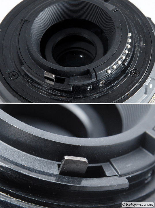 Так выглядит рычаг управления диафрагмой на объектива Nikon