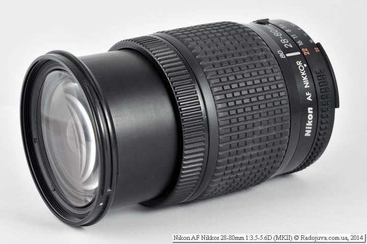 Вид Nikon AF Nikkor 28-80mm 1:3.5-5.6D на 80мм и МДФ