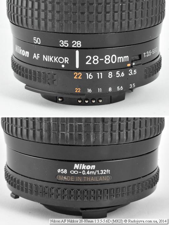 Метки на объективе Nikon AF Nikkor 28-80mm 1:3.5-5.6D