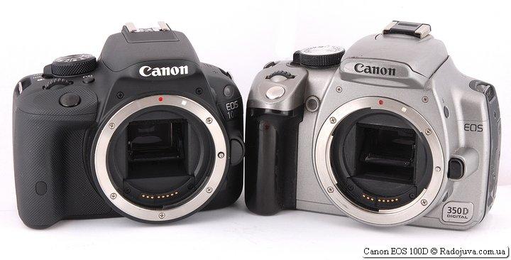 Размеры Canon EOS 100D и Canon EOS 350D