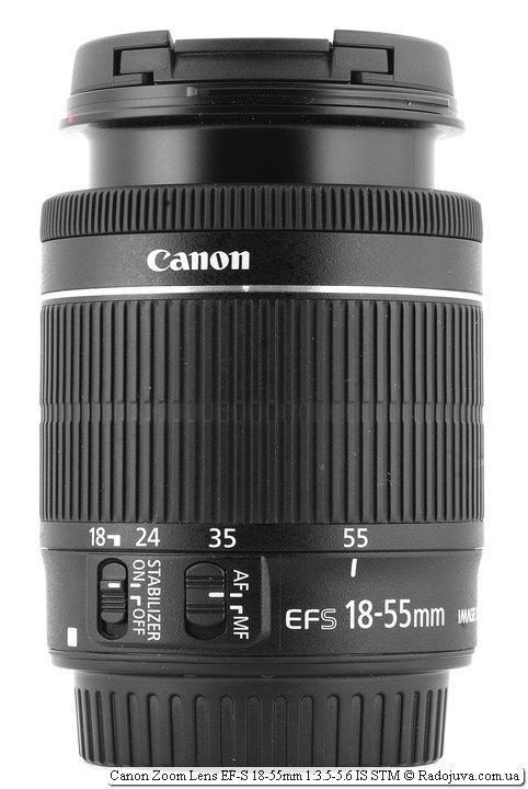 Так выглядит Canon Zoom Lens EF-S 18-55mm 1:3.5-5.6 IS STM с максимально вытянутым хоботом