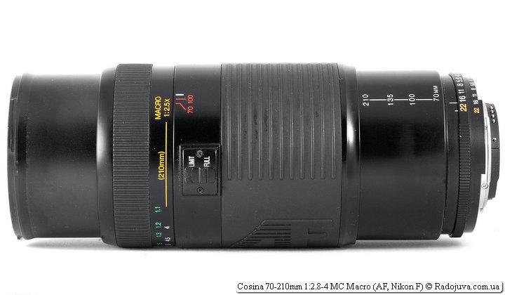 Cosina 70-210mm 1:2.8-4 MC Macro при фокусировке на МДФ и при самом длинном положении хобота (210мм)