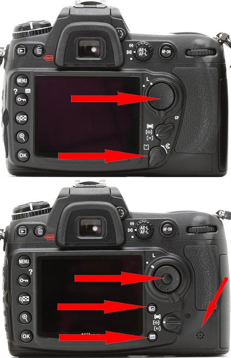 Различия в органах управления Nikon D300, D300s