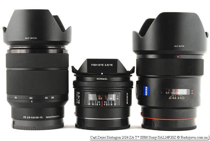 Три объектива Sony: Sony SEL2870 FE 3.5-5.6/28-70 OSS; Sony SEL-16F28 16mm F/2.8 и Carl Zeiss Distagon 2/24 ZA T* SSM Sony SAL24F20Z