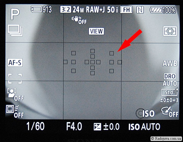 Точки фокусировки при использовании Sony LA-EA4