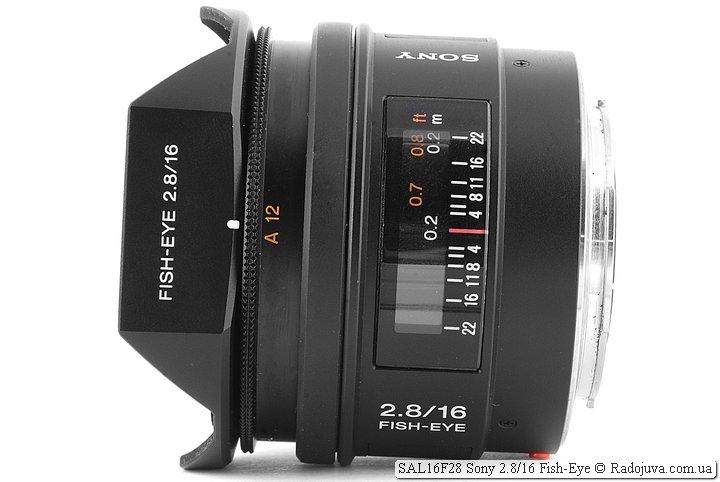 Sony 2.8/16 Fish-Eye SAL16F28, вид сбоку