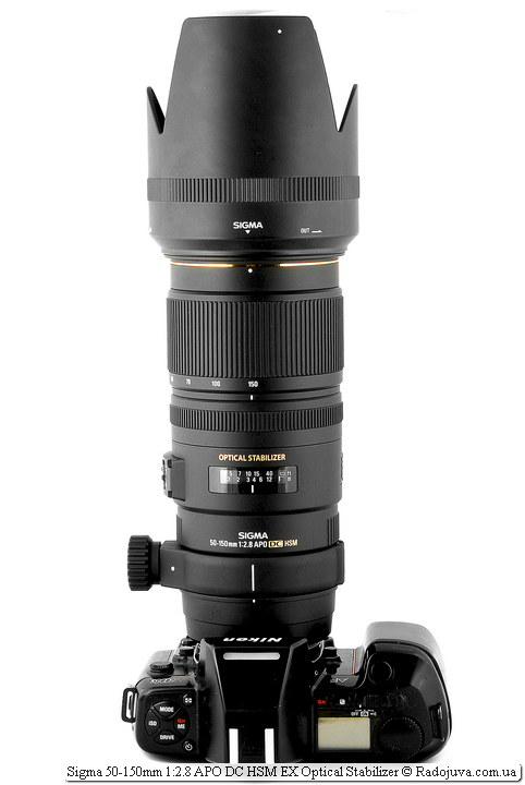 Вид Sigma AF 50-150 mm F 2.8 EX DC OS HSM на камере