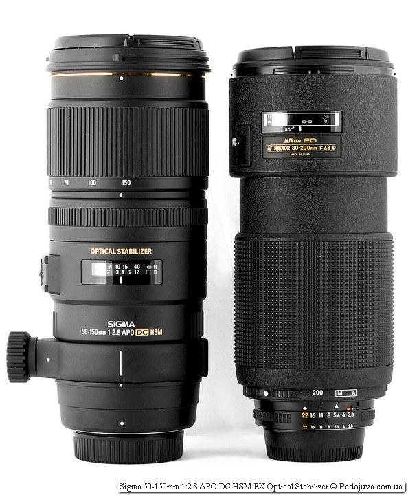 Размеры Вид Sigma AF 50-150 mm F 2.8 EX DC OS HSM и Nikon ED AF Nikkor 80-200mm 1:2.8D (MKII)