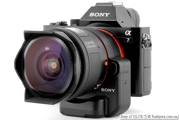 Sony a7 с переходником Sony LA-EA4 и объективом Sony SEL-16F28 16mm F/2.8