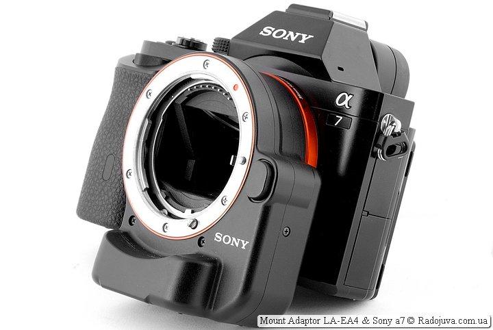 Переходник Sony LA-EA4 на камере Sony A7